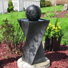 Sunnydaze Contemporary Solar on Demand Black Ball Fountain