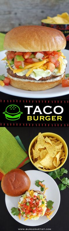 """Burger The taco burger is flavored with taco seasonings & layered with your favorite taco toppings like shredded cheese, tomatoes, onions, and jalapeños.Layer Layer (in Sanskrit: """"'कला""""') or layered may refer to: Burger Recipes, Mexican Food Recipes, Beef Recipes, Dinner Recipes, Cooking Recipes, Healthy Recipes, Ethnic Recipes, Burger Ideas, Gastronomia"""