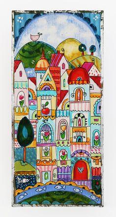 Абстрактна картинка с къщи. - Арт магазин за подаръци, картини, икони,  сервизи, керамика