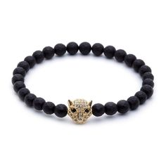 Yellow Gold Leopard Head & Faceted Matt Onyx Charm Bracelet. Shop online at www.AtolyeStone.com