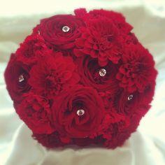 red dahlias wedding - Google Search