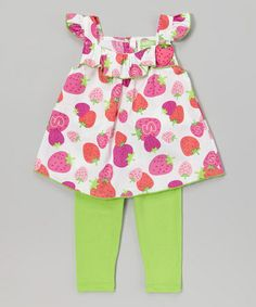 Look what I found on #zulily! Pink Strawberry Tunic  Green Leggings - Infant  Toddler #zulilyfinds