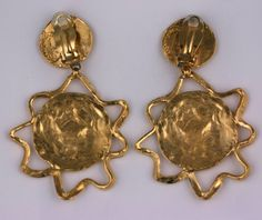 c969c6aea57 Yves Saint Laurent Gilt Thistle Long Earrings | From a unique collection of  vintage dangle earrings