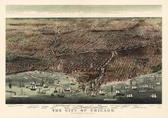 Antique bird's eye view of Chicago by Currier and Ives from 1892
