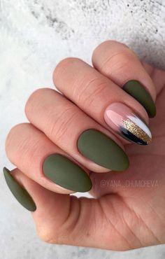 Green Nail Designs, Square Nail Designs, Classy Nail Designs, Cute Nail Art Designs, Almond Nails Designs, Short Nail Designs, Acrylic Nails Almond Classy, Fall Almond Nails, Oval Acrylic Nails