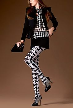 5ef399c9938 Le Bourget Anasthasia Fashion Tights in Hounds Tooth -