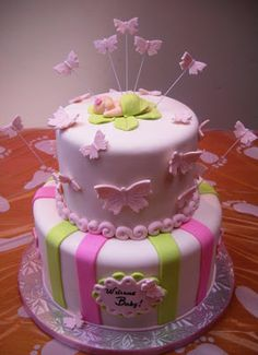Nice with the butterflies curving away from the cake surface