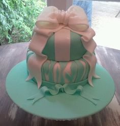 "My first adventure with fondant - my ""Tiffany and zebra mother's day cake""."