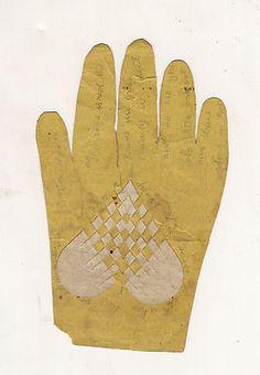 1840s WOVEN VALENTINE HEART W POEM HAND SHAPE, LANCASTER PA