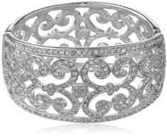 "Kenneth Jay Lane Silver and Crystal Lace Hinged Cuff Bracelet, 9"" by Kenneth Jay Lane - XYS Online"