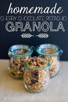 Homemade Granola with dark chocolate, cherries, and pistachios from Our Best Bites Brunch Recipes, Snack Recipes, Cooking Recipes, Snacks, Breakfast Recipes, Breakfast Bites, Love Food, Pistachios, Yummy Food