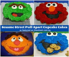 Sesame Street cupcakes-wish my boys were still young enough for these Cupcakes Design, Cute Cupcakes, Cupcake Cookies, Decorated Cupcakes, Vanilla Cupcakes, Giant Cupcakes, Wedding Cupcakes, Pull Apart Cupcake Cake, Pull Apart Cake