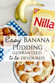 Banana Pudding Recipe Guaranteed to Be Devoured Easy Banana Pudding Recipe guaranteed to be devoured. Make this Banana Pudding Recipe this Easter! Easy Banana Pudding Recipe guaranteed to be devoured. Make this Banana Pudding Recipe this Easter! Vanilla Wafer Banana Pudding, Banana Pudding Desserts, No Bake Banana Pudding, Easy Pudding Recipes, Southern Banana Pudding, Homemade Banana Pudding, Köstliche Desserts, Delicious Desserts, Easy Banana Pudding Recipe With Cream Cheese