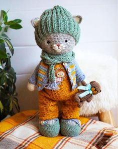 Kitten Tom and his little friend teddy bear / cat lover gift / stuffed handmade plush toys for kids / animals by PolushkaBunny Toms Outfits, Fashion Outfits, Amigurumi Animals, Amigurumi Doll, Crochet Bunny, Crochet For Kids, Knitting For Kids, Crochet Patterns Amigurumi, Crochet Dolls