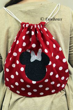 Minnie Mouse Cheer Drawstring Backpack by Funbows Disney Diy, Disney Crafts, Minnie Mouse Gifts, Minnie Mouse Backpack, Mickey Mouse, Sacs Tote Bags, Sewing Crafts, Sewing Projects, Cheer Gifts