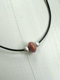 Leather necklace pink ceramic bead choker metal beads