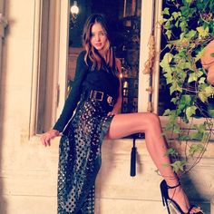 black chiffon/silk blouse, maxi thigh slit print/hole skirt, black strap heel sandals, belt, hair - summer date look?