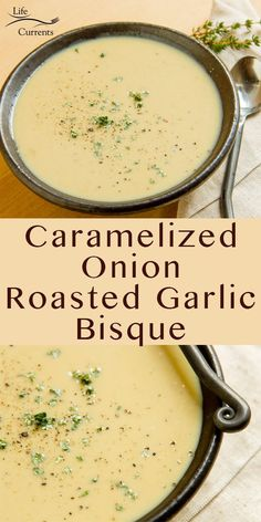 This Caramelized Onion Roasted Garlic Bisque is one of our favorite soups around my house. Its warm and comforting especially on those cold winter nights. Garlic Soup, Roasted Garlic, Roasted Tomatoes, Bisque Soup, Good Food, Yummy Food, Garlic Recipes, Cooking Recipes, Healthy Recipes