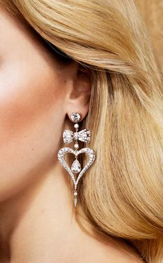 Heart and Bow diamond earrings / Jessica McCormack