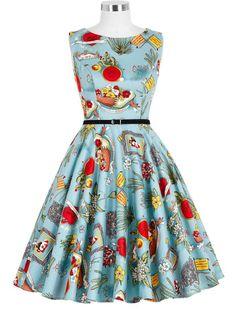 50s Retro Style Viva Frida Vintage Inspired Print Dress