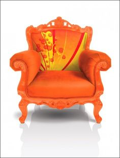 Noel Duigan in living color Orange Funky Furniture, Painted Furniture, Take A Seat, Happy Colors, Upholstered Furniture, Cool Chairs, Decoration, Armchair, Upholstery