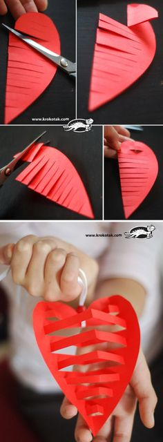 "Heart Shaped Ornaments ""How to Make Heart Shaped Ornaments - DIY & Crafts - Handimania"", ""Cut a heart shape out of colored paper and make this ornaments Valentine's Day Crafts For Kids, Fun Crafts, Art For Kids, Paper Crafts, Valentine Day Crafts, Holiday Crafts, Valentine Ideas, Holiday Ornaments, Christmas Ornament"