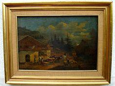 """""""La recogida del ganado"""" Escuela  Holandesa.  Siglo XIX. Óleo/tabla. Medidas: 55 x 38 cms"""