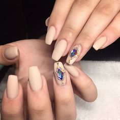 Matte Nude Coffin Nails with Elegant Bling accents. Love it! #nail #nailart