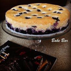 A eggless blueberry cake that looks and tastes almost like a cheesecake!