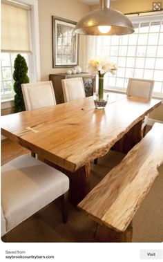 Made from solid wood and iron, your Live Edge Wood Dining Table is hand-sanded, finished and sealed with a durable finish to preserve its raw edge and rustic wood grain. Thanks to natural variations a Live Edge Dining Room, Home, Dining, Farmhouse Dining Room, Dining Room Design, Dining Table, Dining Room Table, Rustic Dining, Live Edge Wood Dining Table