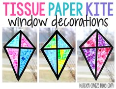 Stained Glass Kite Decorations Made from Tissue Paper. Could also incorporate counting - attach a string and add number of bows or beads to correspond with the number on the kite Kindergarten Crafts, Classroom Crafts, Classroom Fun, Preschool Crafts, Kindergarten Classroom, Preschool Ideas, Spring Art, Spring Crafts, Kite Decoration