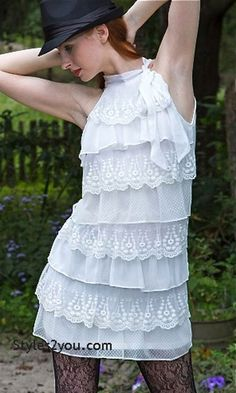 Anne Ruffle Shirt Dress In White, Womens Fashion, Womens Clothing, Boho Chic, Chic, Clothes for Women from Styles2you.com