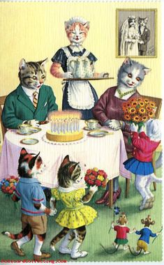 vintage cat postcard. #anthropomorphism (the auction it was in is over so the link goes nowhere, but i still love the pic)