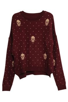 ROMWE | Skull Charm Wave Point Dark-red Cardigan, The Latest Street Fashion ($50-100) - Svpply