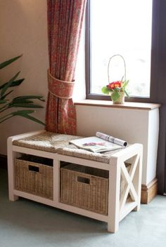 Great The Somerset Hallway 2 Seater Wicker Drawer Storage Bench/Seat   Wooden  Painted Cream