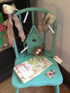 """garden chair with """"clothespin line"""""""