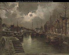 Dordrecht by moonlight   by Pierre-Franc Lamy