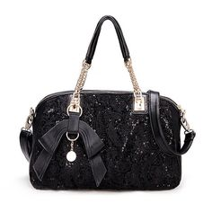 Sequined Lace Tote Bag (51 CAD) ❤ liked on Polyvore featuring bags, handbags, tote bags, stylemoi, black, black tote bag, sequin tote, black sequin tote bag, black sequin handbag and lace tote