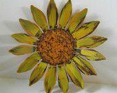 Sunflower Wall Hanging, Sculptured Metal Garden Art, Shabby Chic, Whimsical Wall Art, Hand Painted Sunflower