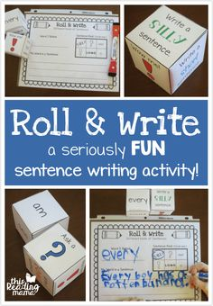 Sentence Writing FUN - Roll and Write a Sentence with Spelling Words - This Reading Mama Writing Games For Kids, Work On Writing, Sentence Writing, Cool Writing, Writing Practice, Sentence Prompts, 2nd Grade Writing, Kindergarten Writing, Teaching Writing