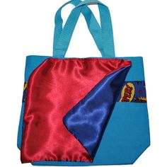 Superhero Tote Bag with a Cape and Monogram Name Embroidered on it, Personalized Bag, Swin Bag, Toy Bag, Boy Tote Travel Bag