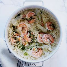 Baked Shrimp Risotto - Bake the rice in the oven, then add shrimp and cheese at the very end. http://www.foodandwine.com/recipes/baked-shrimp-risotto