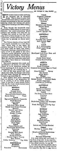 The Providence Journal featured weekly menus to help home front cooks plan nutritious and delicious meals for their families. This menu is the first to feature the new point values that went into effect March 1, 1944.