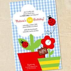 Girl's Ladybug Garden Party Invitations for Birthdays by Sweet Wishes Stationery