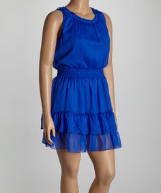 Another great find on #zulily! Blue Tiered Ruffle Dress - Plus by Life and Style Fashions #zulilyfinds