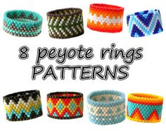 8 Peyote rings patterns Beaded rings patterns PDF Instant download rings patterns Beading Beadweaving Beadwork Seed Bead Rings patterns