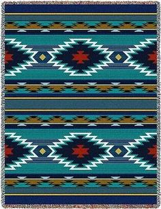 70x53 BALPINAR Southwest Native Blue Tapestry Afghan Throw Blanket