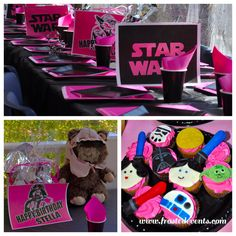 Princess Leia Pink & Black Star Wars Party www.frostedevents.com