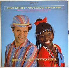 Brian Cant and Floella Benjamin on the sleeve of BBC TV's Play School and Play Away LP 1970s Childhood, My Childhood Memories, 80s Kids, Kids Tv, 1980s Tv Shows, Old School Toys, Vintage Television, Classic Tv, My Children