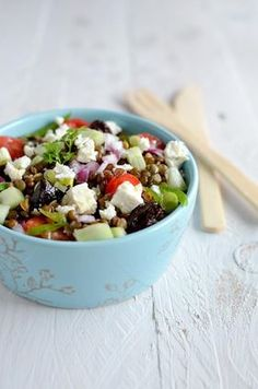 Lentil salad recipe with feta cheese - Easy Recipes & Healthy Healthy Summer Recipes, Healthy Menu, Healthy Cooking, Healthy Drinks, Lentil Salad Recipes, Veggie Recipes, Vegetarian Recipes, Feta Cheese Recipes, Feta Salat